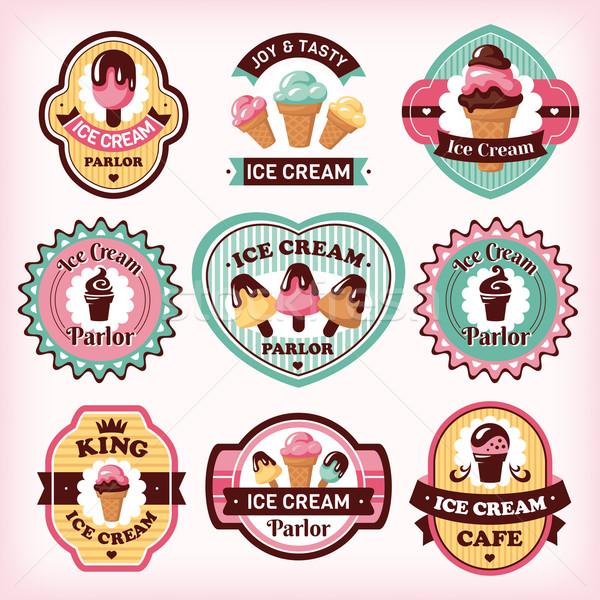 Stockfoto: Ingesteld · ijs · verschillend · badges · chocolade