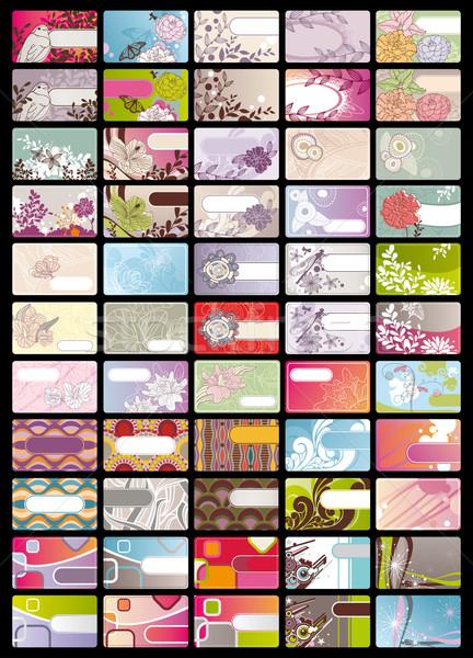 ストックフォト: セット · かわいい · 名刺 · 抽象的な · 自然 · デザイン