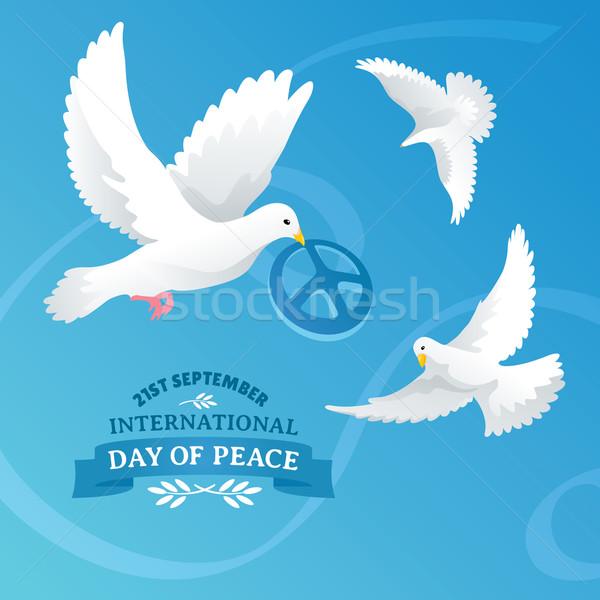 Uluslararası gün barış gökyüzü çiçek mutlu Stok fotoğraf © SelenaMay