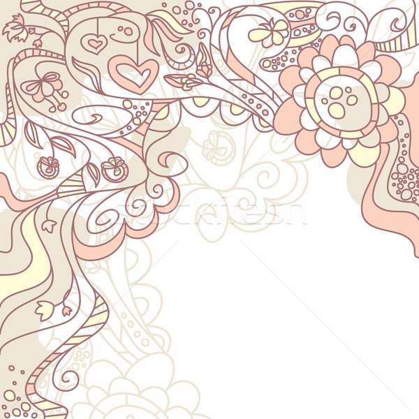 Sevimli kart çiçekler kalp dizayn yaprak Stok fotoğraf © SelenaMay