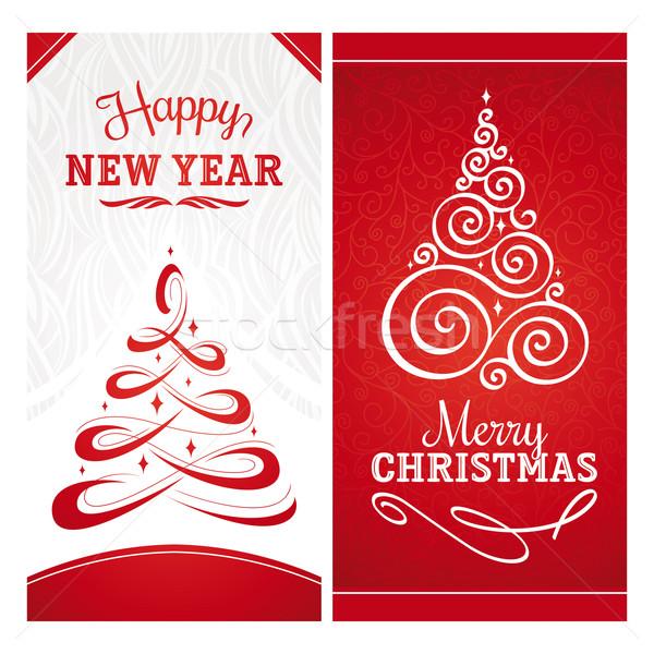 Navidad año nuevo saludo tarjetas árbol luz Foto stock © SelenaMay