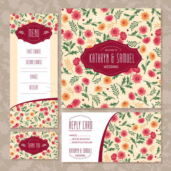 Set floral Hochzeit Karten Mode Blatt Stock foto © SelenaMay