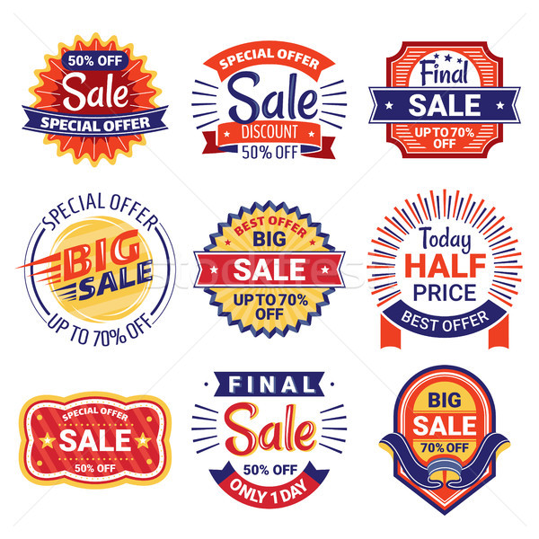Set of sale tags, badges and labels Stock photo © SelenaMay