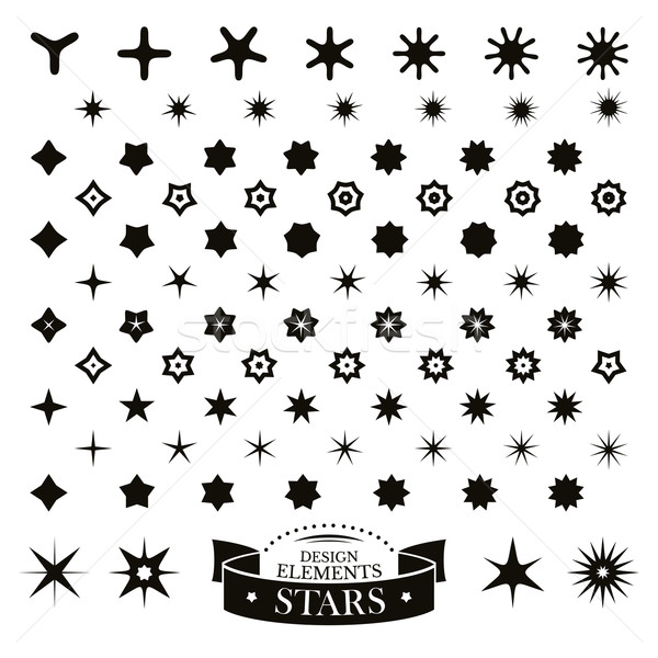 набор различный звезды веб ночь черный Сток-фото © SelenaMay