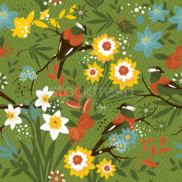 Vintage seamless floral pattern with birds Stock photo © SelenaMay