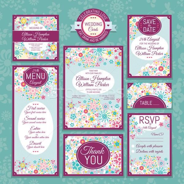 セット 結婚式 カード 招待 ありがとう カード ストックフォト © SelenaMay