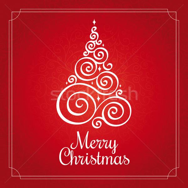 Noel ağacı Noel tebrik kartı ışık arka plan Stok fotoğraf © SelenaMay