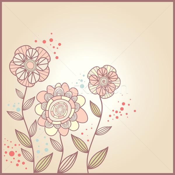 Sevimli kart çiçekler soyut kalp dizayn Stok fotoğraf © SelenaMay