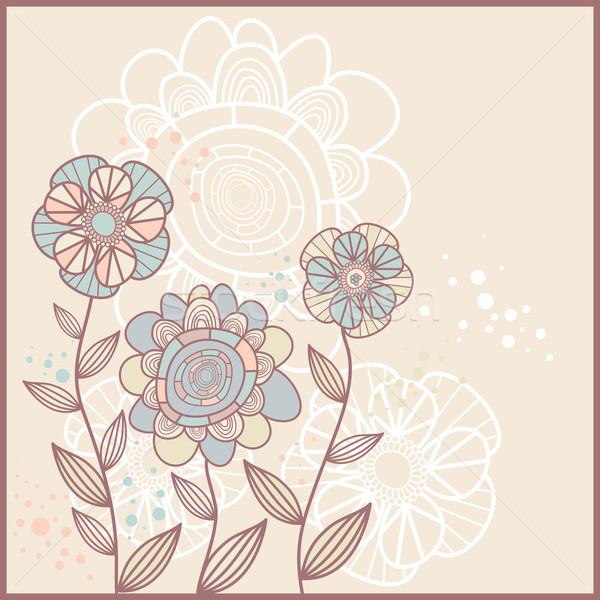 Sevimli kart çiçekler soyut kalp yaprak Stok fotoğraf © SelenaMay