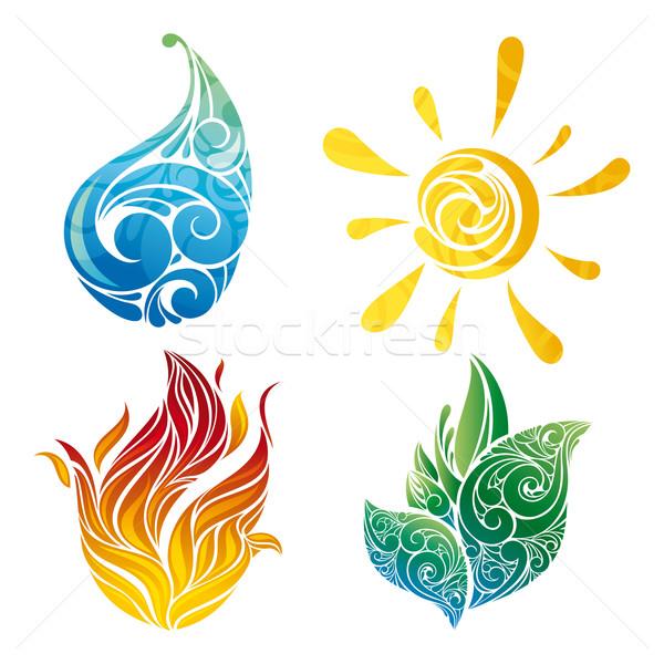 Vector símbolos elementos sol hoja agua Foto stock © SelenaMay