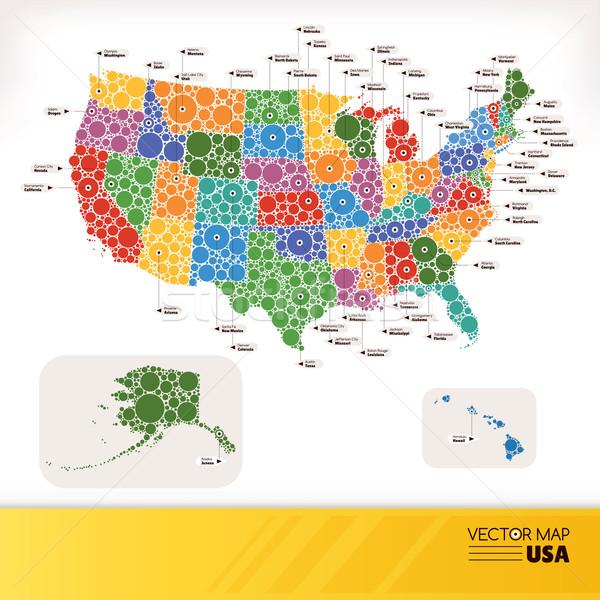 地図 米国 ウェブ フラグ シルエット 色 ストックフォト © SelenaMay