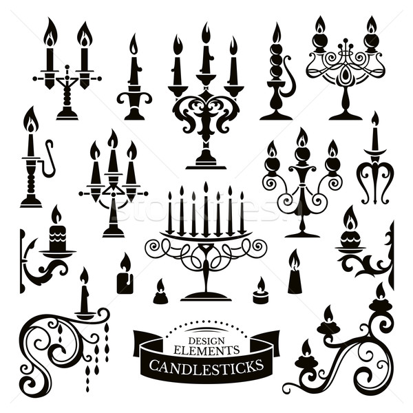 Silhouettes of candlesticks Stock photo © SelenaMay
