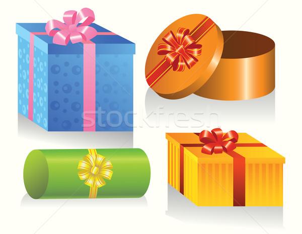 Ayarlamak hediye kutuları renkli mektup hediye zarf Stok fotoğraf © SelenaMay