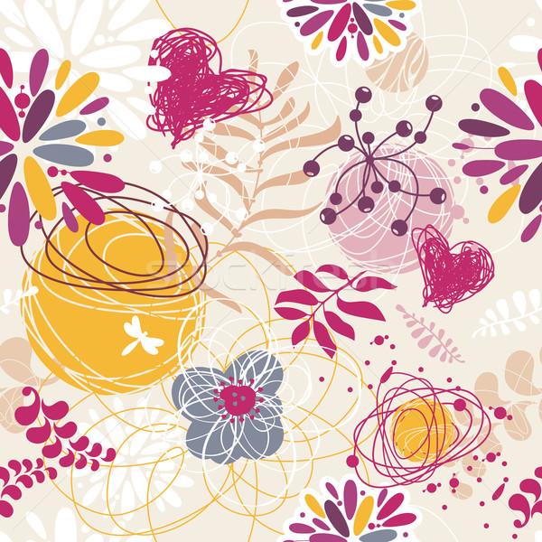 抽象的な シームレス フローラル レトロな 花 春 ストックフォト © SelenaMay