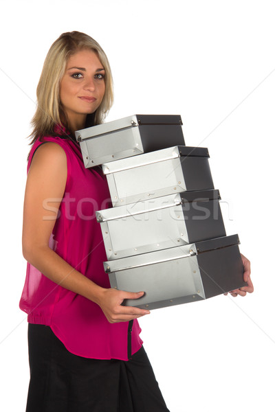 молодые административный коробки изолированный Сток-фото © serendipitymemories