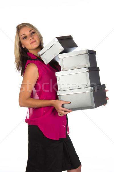 Giovani amministrativa scatole isolato Foto d'archivio © serendipitymemories