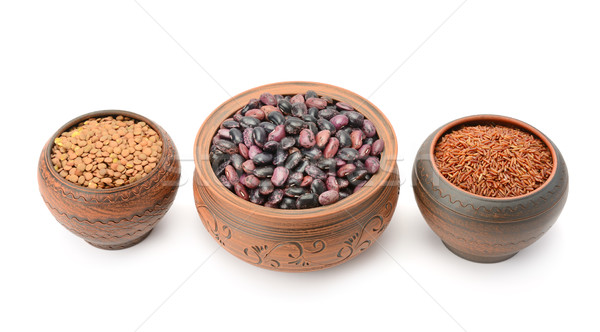 Pots with beans, rice and lentils Stock photo © Serg64