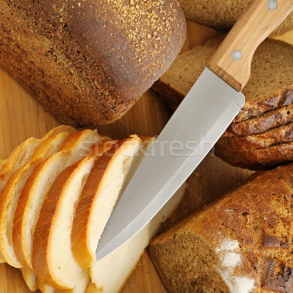 Gesneden brood mes voedsel gezondheid diner Stockfoto © serg64