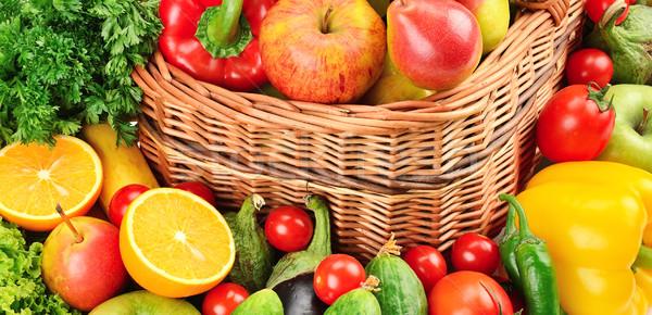 Gyümölcs zöldségek háttér narancs zöld piros Stock fotó © Serg64
