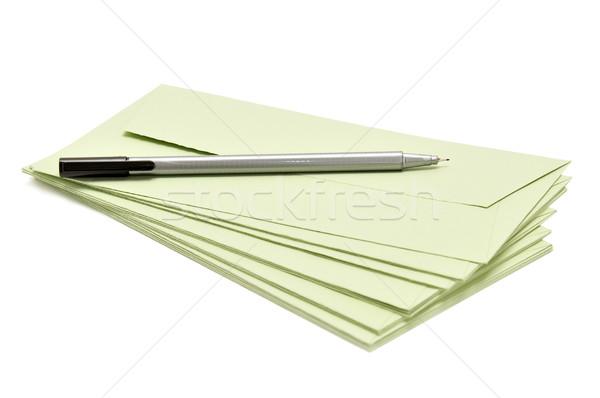 Pen dekken geïsoleerd witte kantoor teken Stockfoto © Serg64