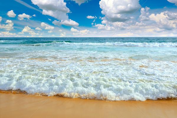 Oceaan golven blauwe hemel strand zee achtergrond Stockfoto © serg64