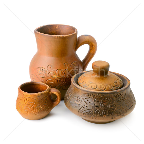 Brocca pot Cup ceramica isolato bianco Foto d'archivio © Serg64