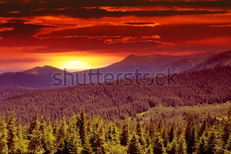 fantastic sunrise in the mountains Stock photo © serg64