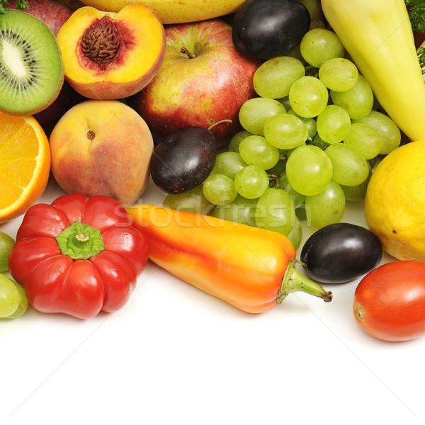 Gyűjtemény gyümölcsök zöldségek izolált fehér levél Stock fotó © serg64