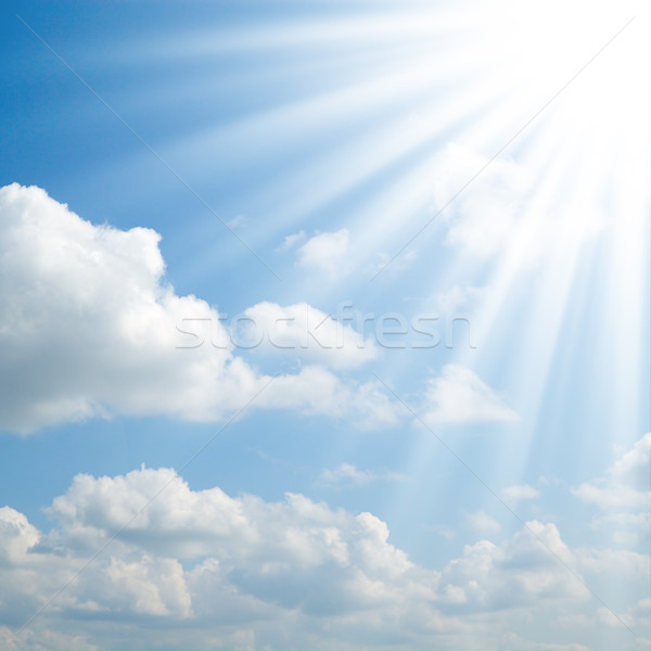 Zon blauwe hemel wolken zonsondergang natuur licht Stockfoto © Serg64