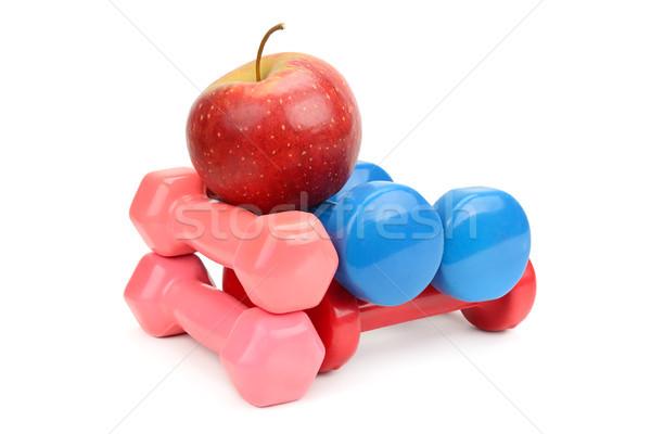 Szett súlyzók alma izolált fehér sport Stock fotó © serg64