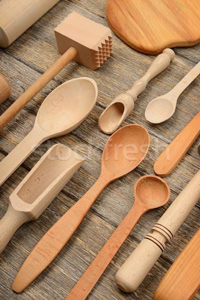 Ayarlamak ahşap mutfak ahşap masa kaşık Stok fotoğraf © serg64