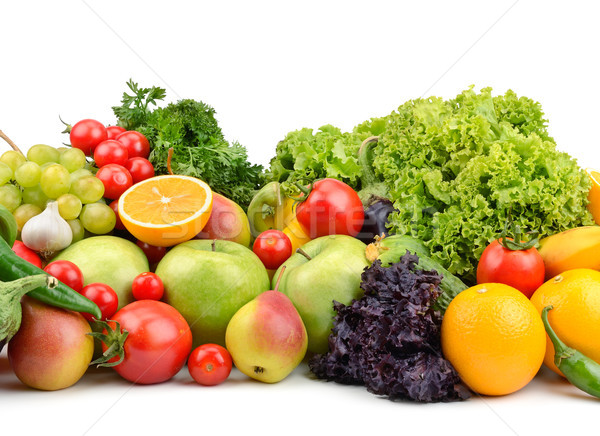 Gyümölcsök zöldségek izolált fehér étel levél Stock fotó © serg64