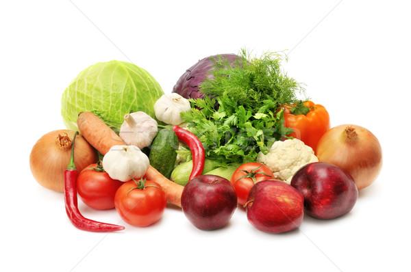 Gyümölcsök zöldségek izolált fehér gyümölcs zöld Stock fotó © Serg64