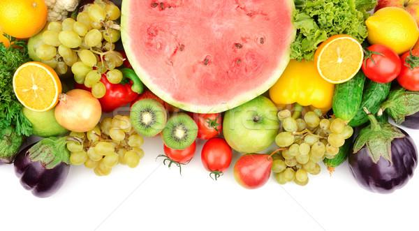 Gyümölcsök zöldségek izolált fehér levél zöld Stock fotó © serg64