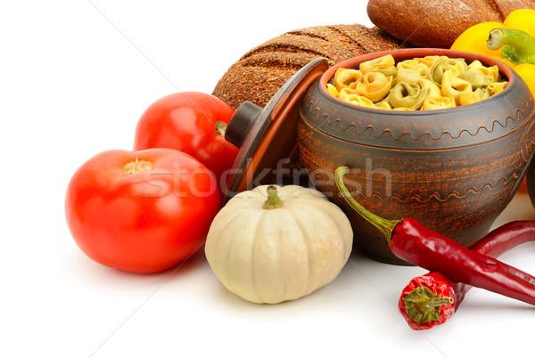 Conjunto útil produtos legumes temperos ravioli Foto stock © serg64