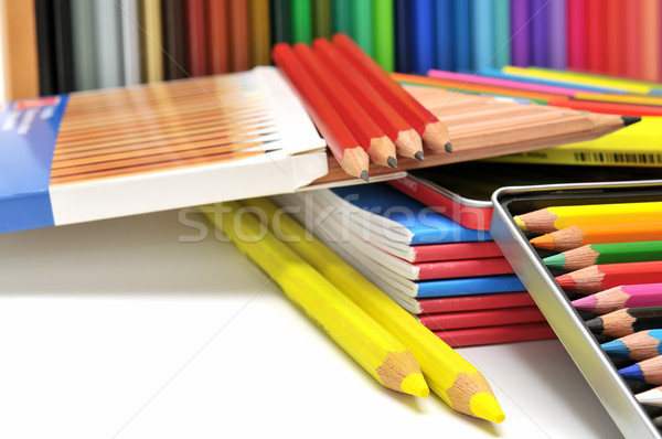 Artigos de papelaria escritório trabalhar caneta pintar caderno Foto stock © Serg64