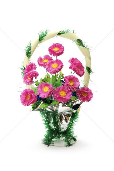 Artificial flores funeral aislado blanco flor Foto stock © Serg64