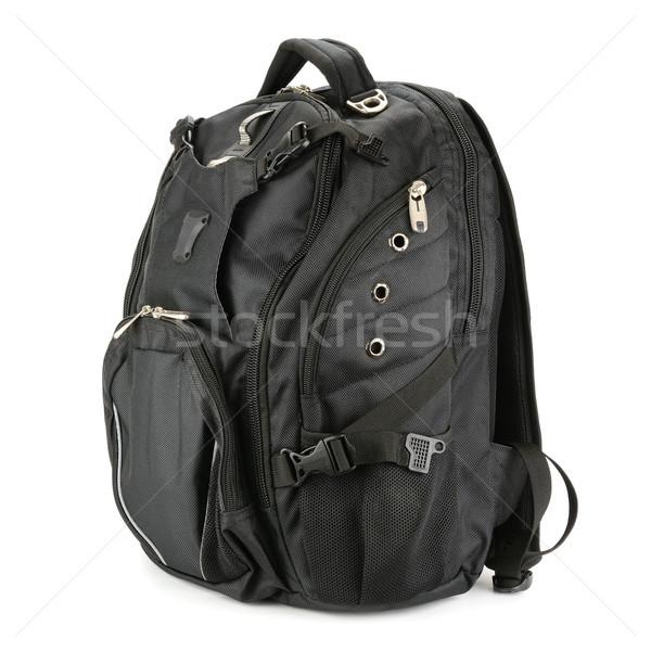 Preto mochila isolado branco escolas moda Foto stock © serg64