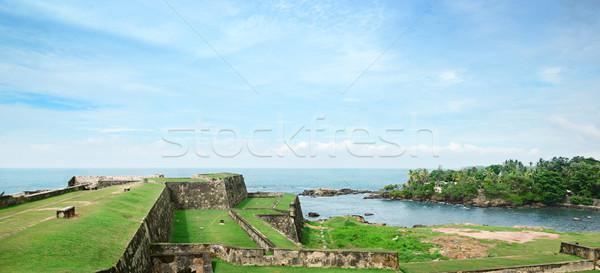 Forte Sri Lanka praia água casa grama Foto stock © serg64