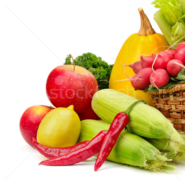 assortment vegetables and fruits in basket Stock photo © serg64