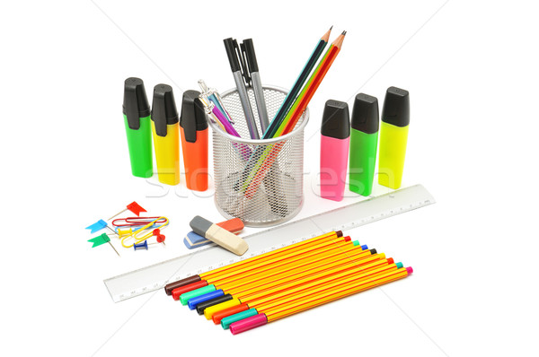 Artigos de papelaria isolado branco escritório escolas caneta Foto stock © Serg64
