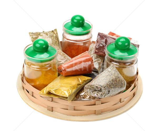 Set of spices in the basket Stock photo © serg64