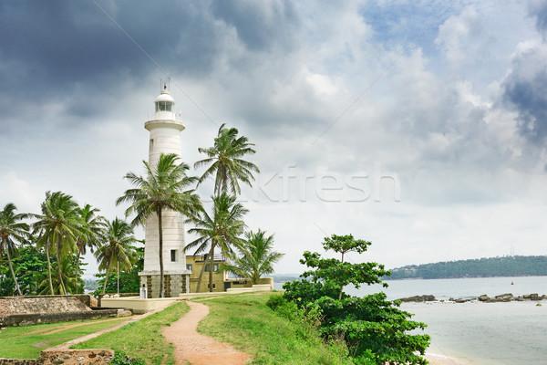 Farol palmeiras céu casa árvore cidade Foto stock © serg64