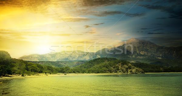 Fantastik gündoğumu plaj gökyüzü bahar güneş Stok fotoğraf © serg64