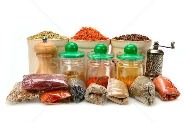 Toplama kuru baharatlar yalıtılmış beyaz gıda Stok fotoğraf © serg64