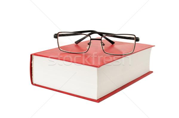 Boek bril geïsoleerd witte papier school Stockfoto © Serg64