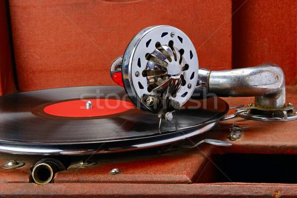 Vintage gramophone with vinyl disc. Close-up. Stock photo © serg64