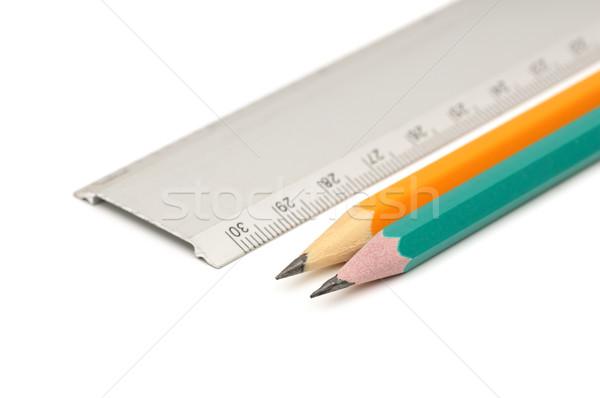 Potloden heerser witte kantoor hout school Stockfoto © Serg64