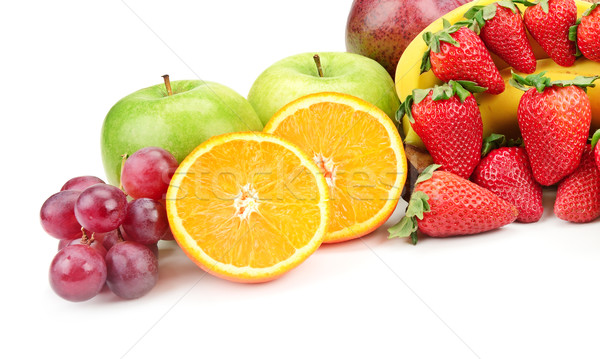 Stock photo: fresh fruits isolated on a white