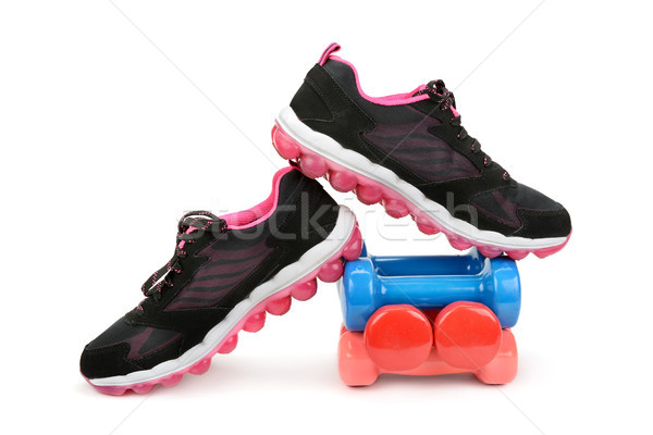 pair of sneakers and dumbbells Stock photo © serg64